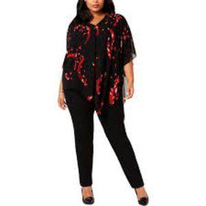 Alfani Womens Plus Printed Asymmetric Blouse